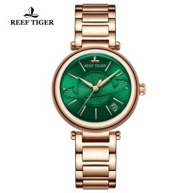 Love Saturn Rose Gold Green Dial Stick Markers Watch