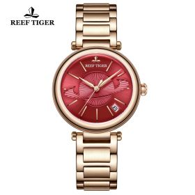 Love Saturn Rose Gold Red Dial Stick Markers Watch