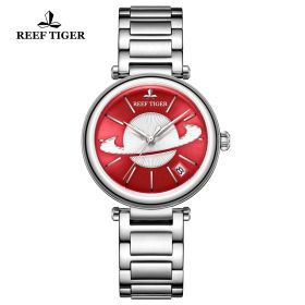 Love Saturn Steel Red Dial Stick Markers Watch