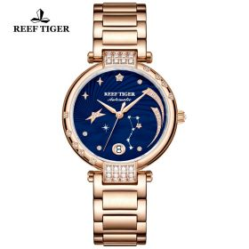 Love Galaxy Rose Gold Blue Dial Diamonds Dots Markers Watch