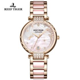 Love Galaxy Rose Gold Pink Dial Diamonds Dots Markers Watch