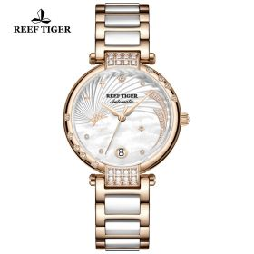Love Galaxy Rose Gold White Dial Diamonds Dots Markers Watch