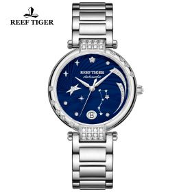 Love Galaxy Stainless Steel Blue Dial Diamonds Dots Markers Watch