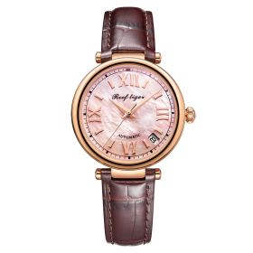 Love Luthier Rose Gold Pink Dial Automatic Leather Ladies Watches RGA1595-PPW