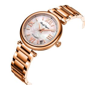 Love Luthier Rose Gold White Dial Automatic Leather Ladies Watches RGA1595-PWP