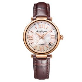 Love Luthier Rose Gold White Dial Automatic Leather Ladies Watch