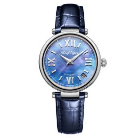Love Luthier Steel Blue Dial Automatic Leather Ladies Watches RGA1595-YLL