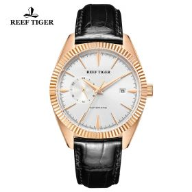Seattle Orion White Dial Rose Gold Black Leather Automatic Watch
