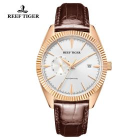 Seattle Orion White Dial Rose Gold Brown Leather Automatic Watch