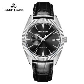 Seattle Orion Black Dial Steel Black Leather Automatic Watch
