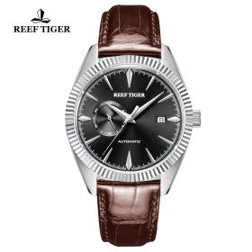 Seattle Orion Black Dial Steel Brown Leather Automatic Watch