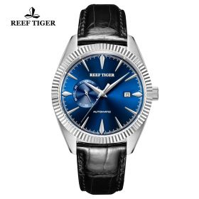 Seattle Orion Blue Dial Steel Black Leather Automatic Watch