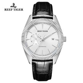 Seattle Orion White Dial Steel Black Leather Automatic Watch