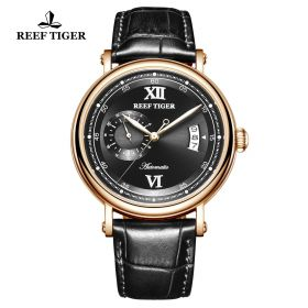 Seattle Sander Black Dial Rose Gold Black Leather Automatic Watch