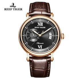 Seattle Sander Black Dial Rose Gold Brown Leather Automatic Watch
