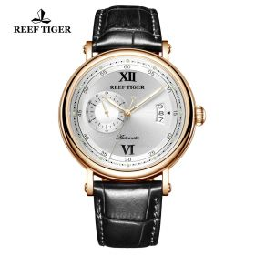 Seattle Sander White Dial Rose Gold Black Leather Automatic Watch