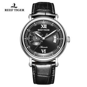 Seattle Sander Black Dial Steel Black Leather Automatic Watch