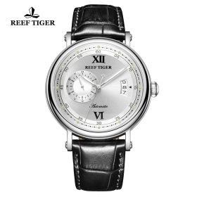 Seattle Sander White Dial Steel Black Leather Automatic Watch