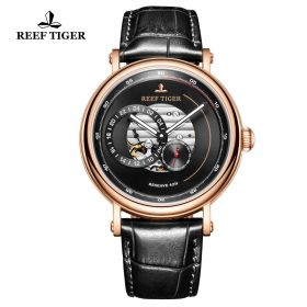 Seattle Reserve Black Dial Rose Gold Black Leather Automatic Watch