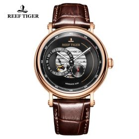 Seattle Reserve Black Dial Rose Gold Brown Leather Automatic Watch