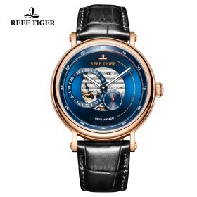 Seattle Reserve Blue Dial Rose Gold Black Leather Automatic Watch