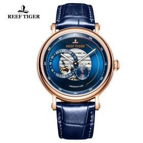Seattle Reserve Blue Dial Rose Gold Blue Leather Automatic Watch