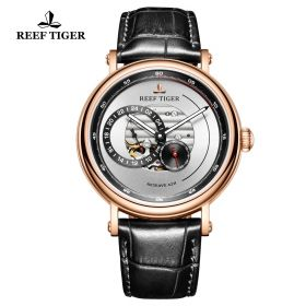 Seattle Reserve White Dial Rose Gold Black Leather Automatic Watch