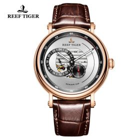 Seattle Reserve White Dial Rose Gold Brown Leather Automatic Watch