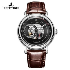 Seattle Reserve Black Dial Steel Brown Leather Automatic Watch