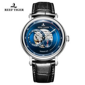 Seattle Reserve Blue Dial Steel Black Leather Automatic Watch