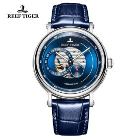Seattle Reserve Blue Dial Steel Blue Leather Automatic Watch
