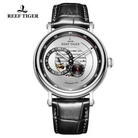 Seattle Reserve White Dial Steel Black Leather Automatic Watch