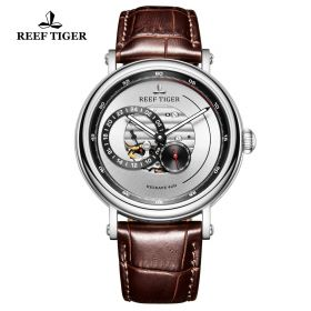 Seattle Reserve White Dial Steel Brown Leather Automatic Watch