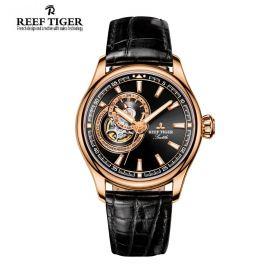 Seattle Sea Hawk Black Dial Rose Gold Mens Watch