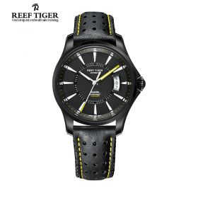 Seattle Space Needle Automatic Black Dial Black Leather DLC Watch