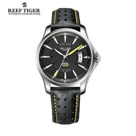 Seattle Space Needle Black Dial Stainless Steel Case Black Leather Watch