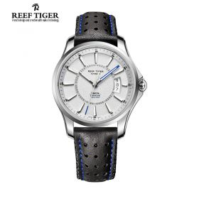 Seattle Space Needle White Dial Steel Automatic Mens Leather Watch