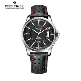 Seattle Space Needle Black Dial Black Leather Mens Steel Watch