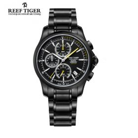 Seattle The Pacific Chrono Black Dial Black DLC Mens Watch