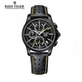 Seattle The Pacific Chrono Black Dial Black DLC Leather Watch