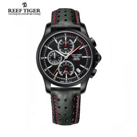 Seattle The Pacific Chronograph Black Dial DLC Leather Quartz Watch
