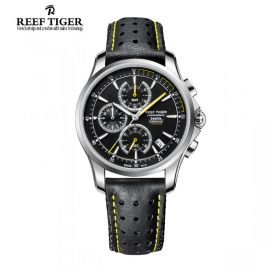 Seattle The Pacific Black Dial Stainless Steel Chronograph Leather Watch