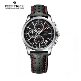 Seattle The Pacific Chrono Stainless Steel Black Leather Quartz Watch