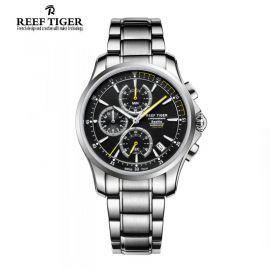 Seattle The Pacific Black Dial Stainless Steel Chronograph Quartz Watch