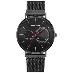 Seattle Sea Oslo WhiteAll Black With Red Hand Stainless Steel Mens Quartz Watches RGA1664-BBBR
