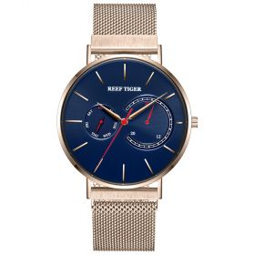 Seattle Sea Oslo Blue Dial Rose Gold Stainless Steel Mens Quartz Watch