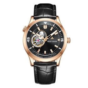 Seattle Columbus Black Dial Rose Gold Leather Strap Mens Watch
