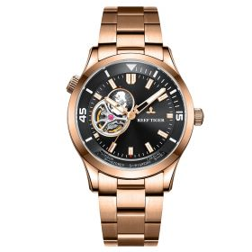 Seattle Columbus Black Dial Stainless Steel Rose Gold Watch