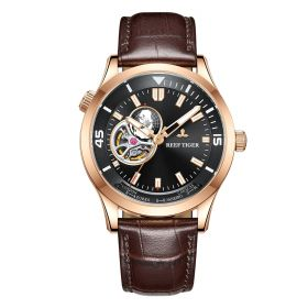 Seattle Columbus Black Dial Rose Gold Case Leather Strap Mens Watch