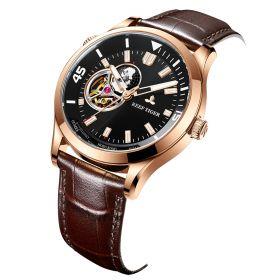 Seattle Columbus Black Dial Rose Gold Case Leather Strap Mens Watches RGA1693-2-PBW